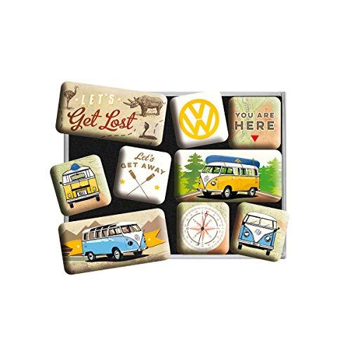 Nostalgic-Art Juego de Imanes Retro VW Bulli T1-Get Lost – Regalo de Furgoneta Volkswagen, Decoración para la Nevera, Diseño Vintage, 9 Unidades