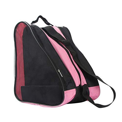 Akjuy, borsa per scarpe da skate, traspirante, in tessuto Oxford, borsa da trasporto per pattini da ghiaccio, pattini a rotelle, pattini in linea, per bambini e adulti (rosa)