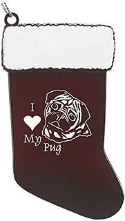 Pewter Christmas Stocking Ornament-I love my Pug-Burgundy