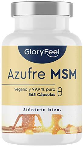 MSM 365 cápsulas veganas - 1600mg MSM (Metilsulfonilmetano) en polvo por dosis diaria de azufre orgánico - 99,9% Puro - 6 meses de suministro - Probado en laboratorio sin aditivos…
