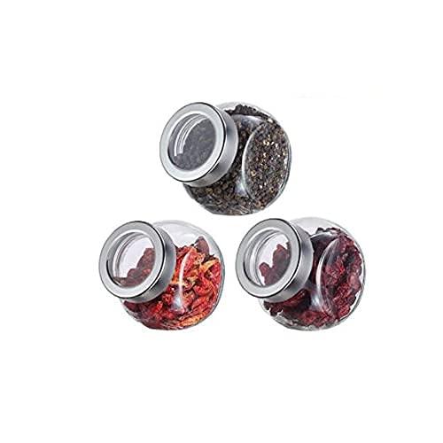 Spice Box 3 stuks Glas Spice Jars,met Shaker Deksels en AirtightCaps,Grootte:10.5 * 10.5cm,Capaciteit:450ml Kruiden…