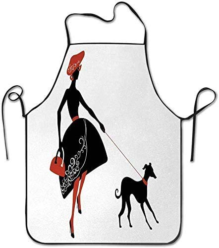DUTRIX Ladder Horn Button and Scallop Sketches on Pale Toned Background Apron Unisex Kitchen Bib Neck for Cooking Gardening, Adult Size