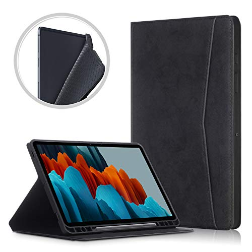 TTVie Case for Samsung Galaxy Tab S7+ - Premium PU Leather Folio Stand Cover Case with Auto Wake/Sleep Function for Samsung Galaxy Tab S7+ 12.4' Tablet 2020 Release, Black