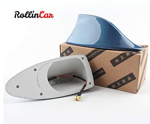 ROLLIN Antena Coche Universal de Aleta Tiburon para Techo Antena Radio Am/FM (BLUE)