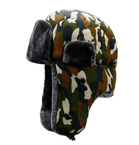 CHENNUO Unisex Fliegermütze Trappermütze Bomber Hut warme Wintermütze mit Ohrenklappen (Braun)