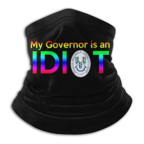 Lawenp My Governor is an Idiot - Connecticut Máscara a prueba de viento Bufanda Microfibra Cuello Calor Multi-Estilo Cuello Pasamontañas Aheaddressf Negro