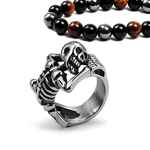 Unisex Stainless Steel Punk Skull Skeleton Finger Ring, Gothic Hip Hop Rock Skateboard Finger Ring, Silver 7-13,11