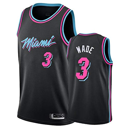 TPPHD Jerseys de Baloncesto para Hombres, NBA Miami Heat 3# Wade Classic Swingman Jersey, Tejido Fresco de la Vendimia Tela Transpirable All-Star Uniforme Uniforme Uniforme,4,XL