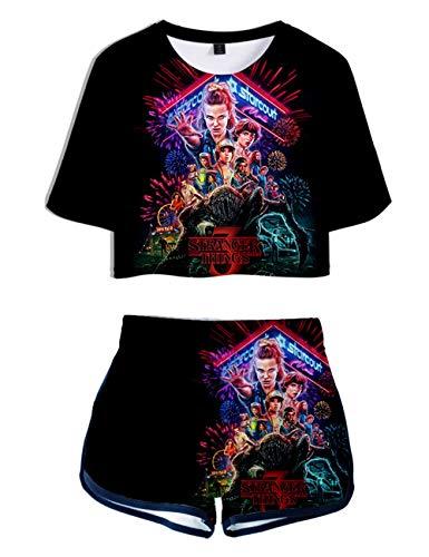 Stranger Things Shirt und Hose Damen, Teenager Mädchen Season 3 3D Druck T-Shirts und Shorts Sommer Crop Tops Anzug Bauchfrei Oberteile Sport Kurze Top Frauen Kurzarm Blusen Tshirts (C,S)