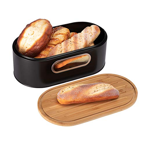 PARANTA Bread Boxes Bin For Kitchen Counter Farmhouse Bread Bin with Eco Bamboo Cutting Board Lid Holder Black 13.4'W x 7.3'D x4.9'H
