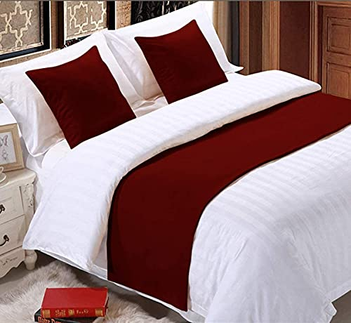 """Solid Bed Runner Scarf Decorative King Size Bed Runner Burgundy (19"""" X 102"""")"""