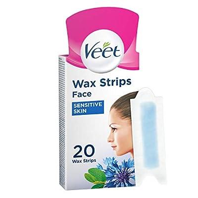 Veet Face Cold Wax Strips for Sensitive Skin, 10 Double Sided Strips, Pack of 20 by Reckitt Benckiser