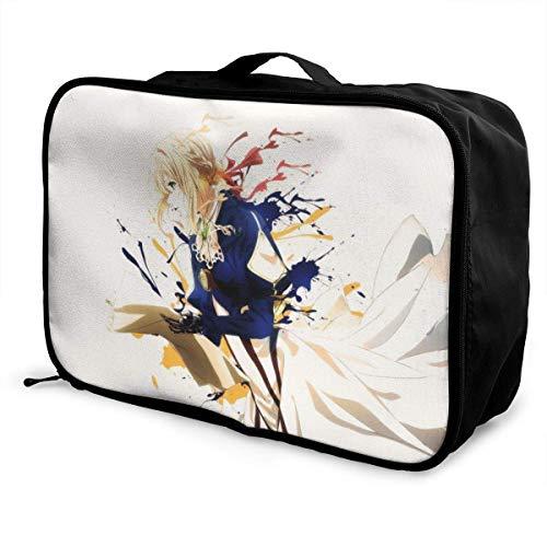 Violet Evergarden Travel Lage Duffel Bag for Women Men Kids, Waterproof Large Bapa Caity Lightweight Suitcase Portable Bags