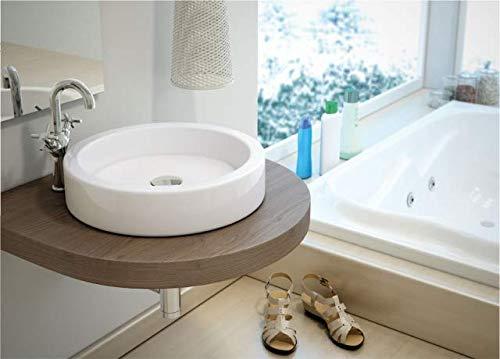 Design Waschbecken Aufsatzwaschbecken Klein Rund 405x405x130mm in weiß, mit Lotus Effekt - Aufsatzwaschbecken Waschschale (Tebas) von Art-of-Baan®