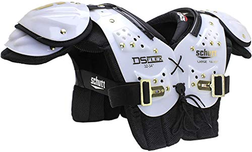 Schutt Sports DS Flex 2.0 All-Purpose Youth Football Shoulder Pads, White/Gold, Large
