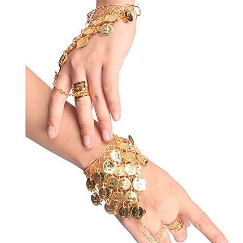 HugeStore Women Ladies Belly Dance Gypsy Jewelry Triangle Coin Bracelet Wrist Bangle Ring Golden