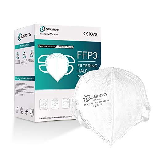 FFP3 Mascarilla Protectora Máscara Bucal, Respiradores para Sordos Mascarilla Antipolvo Plegable Protección Facial Norma EN 149: 2001 + A1: 2009