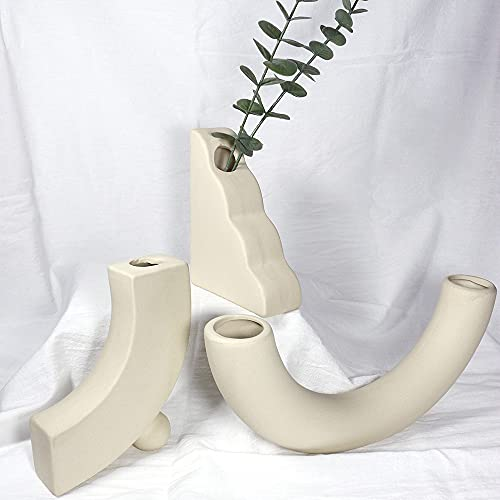 Sivya Juego de 3 jarrones de cerámica modernos y 10 tallos artificiales de eucalipto, decoración rústica para flores secas naturales artificiales decoración de sala de estar 🔥