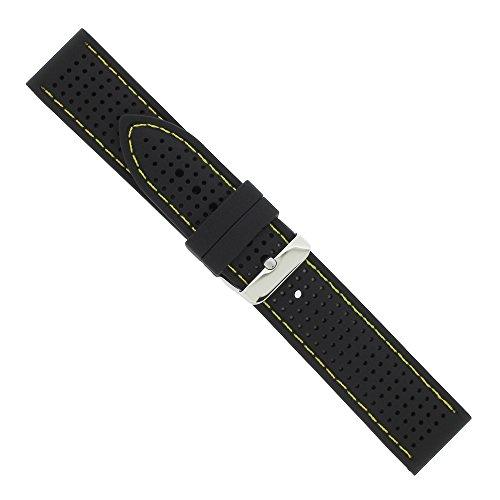 Uhrbanddealer Unisex Uhrenarmband 22mm Ersatzband Silikon-Trend mit Kontrastnaht Gelb 4001522