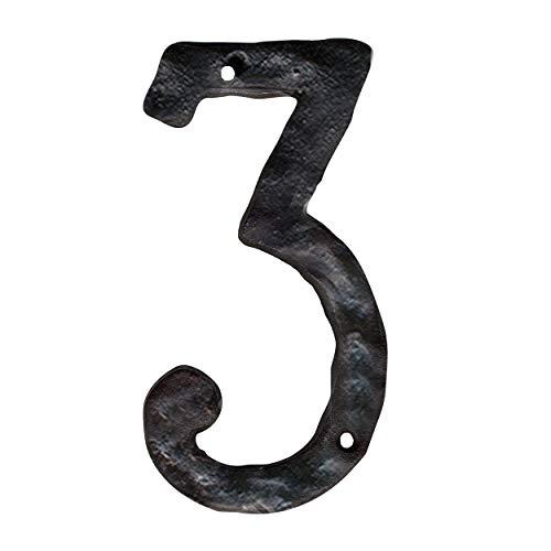 NACH js-rusticnumber-3 números de casa, 14 cm, ferro fundido rústico