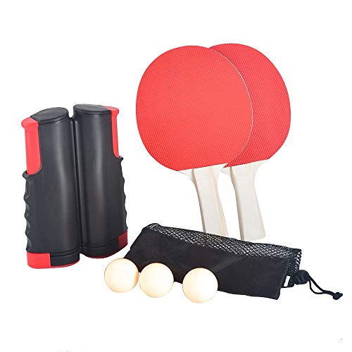 alivoda Tischtennis-Set, tragbares Tischtennis-Set, 1,7 m, frei einziehbares Netz, 2 Paddel, 3 Bälle, Aktivitäten für drinnen und draußen