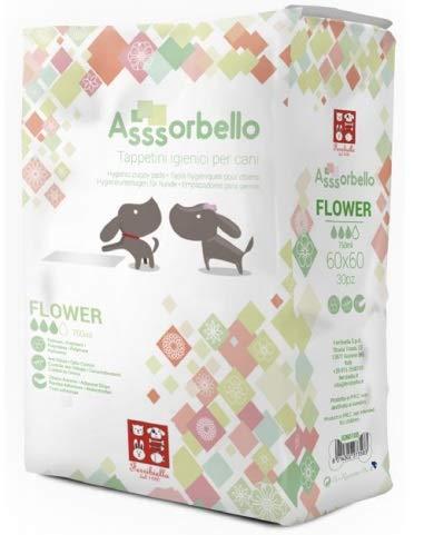 Ferribiella Tappetini Igienici Pannolini con Profumo di Fiori Flowers Super Assorbente per Cane e Gatti Cuccioli e Anziani 60x90 80 pz