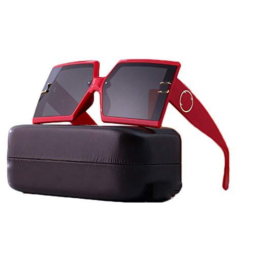 LK-HOME Gafas De Sol Polarizadas,Mujer Hombre Sunglasses Anti-Ultravioleta,Elegantes Marco Grande Ultraligeros Retro Adecuados Deportes Al Aire Libre Pilotos Conducción Conducción,Rojo