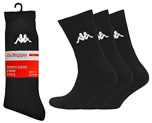 Mens Kappa Socks 6 Pair Pack Crew Cotton Sports Sock Size UK 6-8 9-11 (6-8, Black)