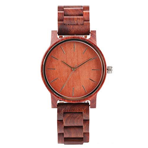 Orologio da uomo Zxy Reloj de Madera, Moda Casual Sándalo Rojo Escala Simple Puro Sándalo Natural Salud y protección del Medio Ambiente, Unisex DYF (Color : Red)