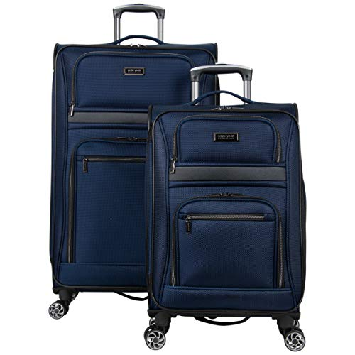 """Kenneth Cole Reaction Rugged Roamer Luggage Collection Lightweight Softside Expandable 8-Wheel Spinner Travel Suitcase Bag, Navy, 2-Piece (20"""" Carry-On / 28"""" Check Size)"""