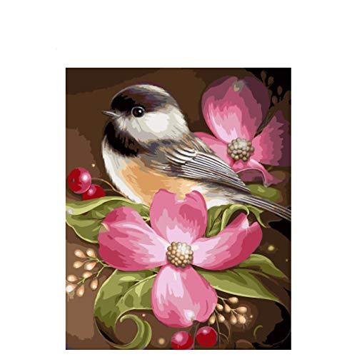 GKJRKGVF Nestling Diy Schilderen Door Getallen Abstracte Vogels met Bloemen Schilderen Op Canvas Acryl Muur
