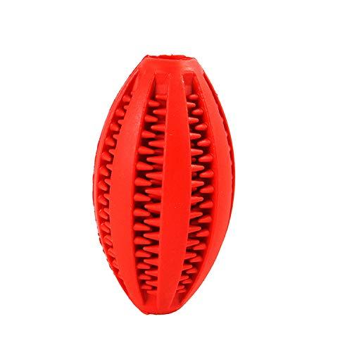 exclusiWa deko & design Hundespielzeug Ball mit Zahnpflegefunktion, Zahnreinigung Hund, Kauspielzeug (rot, Football)