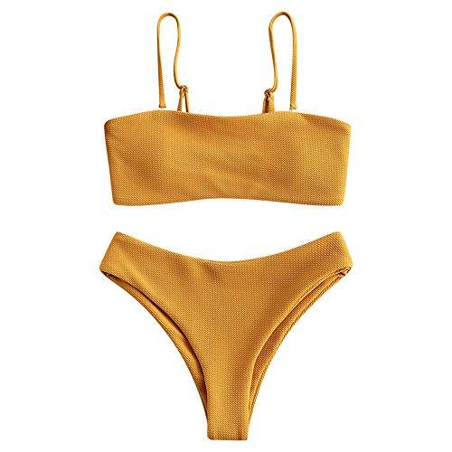 ZAFUL Damen Bikini Set, Texture Bandeau Bikini Set mit Gepolsterter High Cut Sexy Badeanzug (Orange-L)