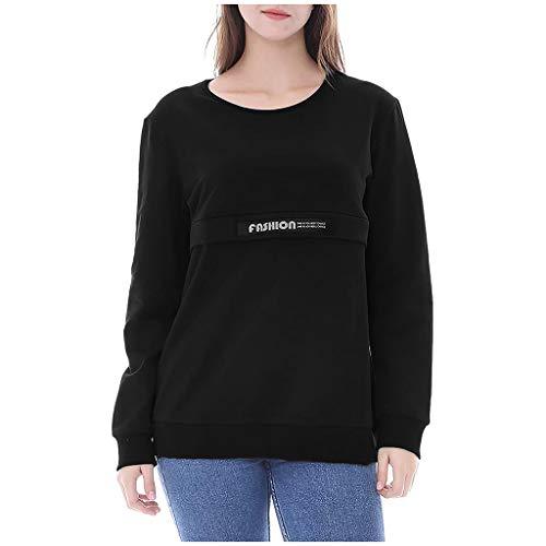 Lomsarsh T-shirt d'allaitement pour femmes, couleur unie, manches longues, allaitement, pull-overs, dames, hauts d'allaitement de maternité pour l'allaitement