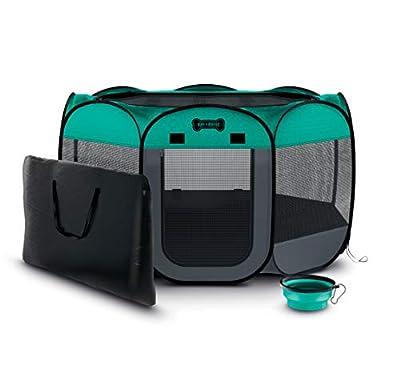 "Ruff 'n Ruffus Portable Foldable Pet Playpen + Carrying Case & Collapsible Travel Bowl (Extra Large (48"" x 48"" x 23.5"")) (Medium (29"" x 29"" x 17"") with Free Bonus, Aqua)"