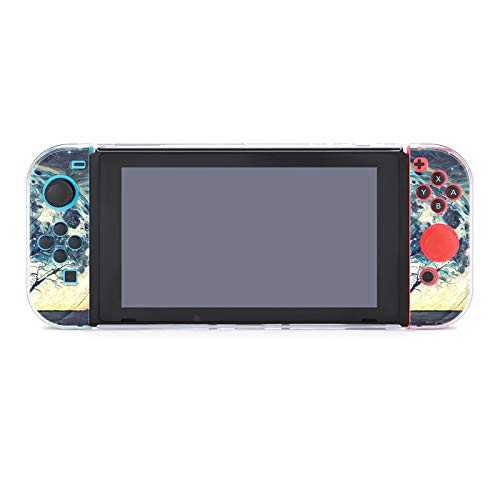 Protective Case Cover for Nintendo Switch Fantasy Landscape Illustration Artwork - Howling Wolf And Bare Tree Silhouettes with Huge Planet Rising behind in Starry Sky Dockable Case Compatible with Nin