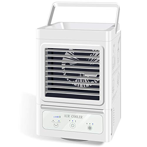 Portable Air Conditioner Fan, 5000mAh Rechargeable Battery Operated 120°Auto Oscillation Personal Air Cooler with 3 Wind Speeds, Ultra Quite Humidifier for Home Bedroom Office Outdoor