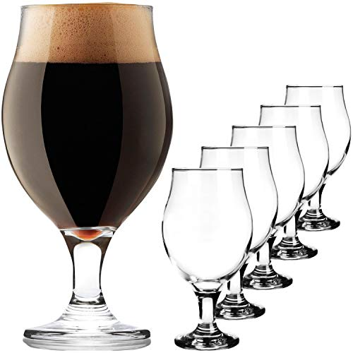 PLATINUX Biertulpen Biergläser Set 6 Teilig 0,5L Bierkrüge aus Glas Bier Beer Bierschwenker Pilsgläser Altbierglas elegant Tulpe