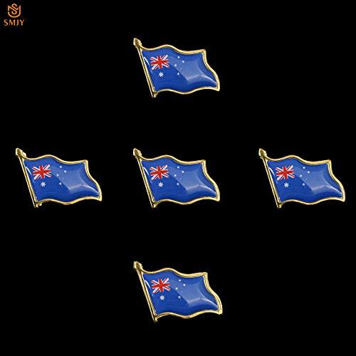 SFDGBTH 5 Piezas Australia Bandera Broche Pin Esmalte Iconos Metal Solapa Pin Sombrero/Camisa joyería Insignia patriótica Pin Regalo