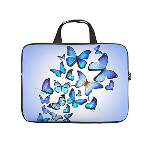 magic blue butterfly Laptop bag Design Laptop Case Bag Soft Waterproof Notebook Carrying Case with Portable Handle for Women Men white 17 zoll