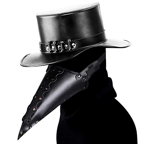 HIBIRETRO Steampunk Plague Doctor Half Face Mask for Adults and Kids, Medieval Bubonic Plague DR Leather Masks for Masquerade Cosplay Halloween Costume - Black
