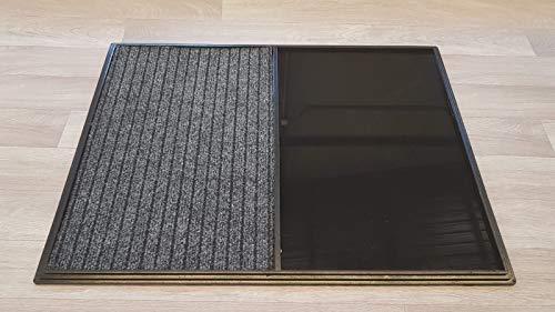 Alfombra - Felpudo Desinfectante para la entrada. Medidas: 60x80, consta de 2 divisiones, uno para la desinfección y otro para el secado. La moqueta no viene fijada, para su fácil sustitución.