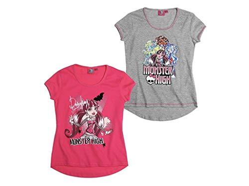 Monster High T-Shirt Doppelpack (pink/grau, 128/134)