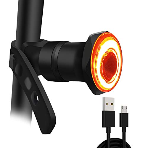 GXIN USB Rechargeable LED Smart Bike Tail Light, Ultra Bright Brake Sensing Rear Bike Light, Auto On/Off Light Sensing, IPX6 Waterproof with 7 Light Modes Bicycle Tail Light for Any Road Bikes