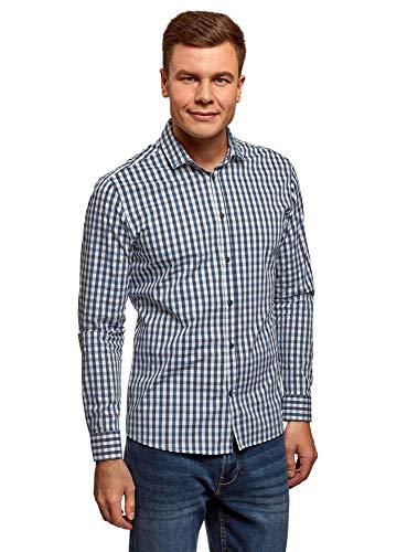 oodji Ultra Herren Kariertes Langarm-Hemd, Blau, Herstellergröße 39 (Kragenweite 39 cm)/ DE 46 / S