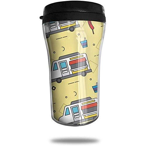 Food Truck Patronen Reizen Koffie Mok Gedrukt Draagbare Vacuüm Beker, Geïsoleerde Thee Cup Waterfles Tumblers voor Drinken