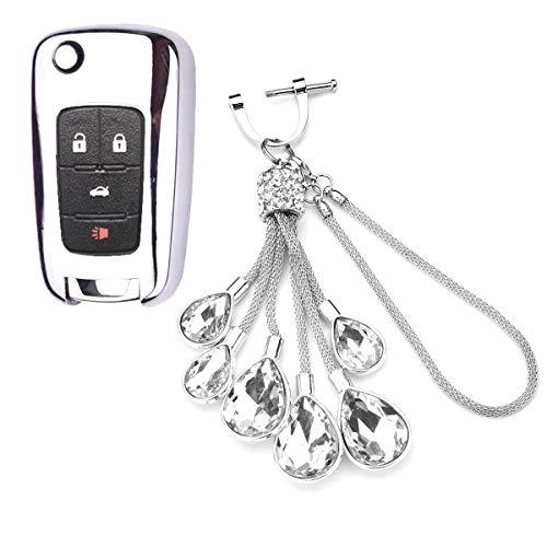 Royalfox (TM) 2 3 4 5 Botones TPU Flip Remote Key Fob Case Cover para Chevrolet Camaro Cruze Equinox Malibu SS Sonic Spark Volt Aveo Epica SAIL 3, Buick Lacrosse Encore GL8 Regal Excelle, Bling plateado