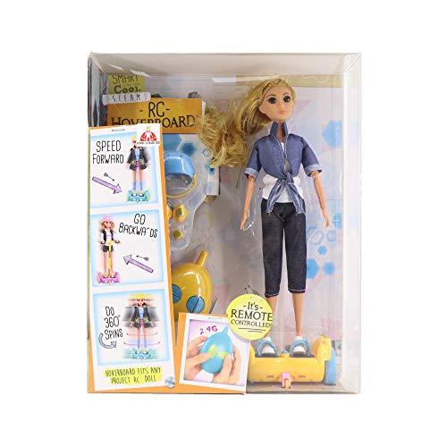 KING JUGUETES Fashion Skateboard-Puppe Hoverboard RC mit Fernbedienung, Gelenkpuppe mit Hoverboard mit Bewegung, Kleider und Zubehör, Spielzeug für Mädchen und Jungen ab 3 Jahren