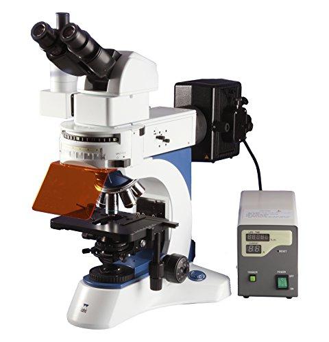 Ceti 3100.7000M Mikroskop Triton II Fluoreszenz Regelbarer Neigungswinkel 0-45°mit E-plan Planachromatischen Unendlichkeitkorrigierten Objektiven 20x, 40x, 100x, HBO 100 W