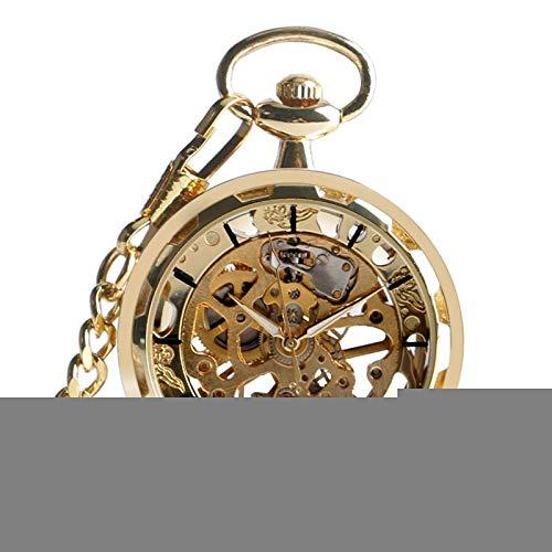 SHUMEISHOUT El Nuevo Reloj de Bolsillo Goldo Completo Esqueleto Retro Vintage Steampunk Cadena de Moda Mecánica Mano Rodado Abrir Cara Moda Mujeres Menos Regalos